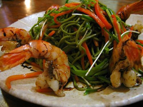 Green Tea Soba Noodles With Grilled Shrimp