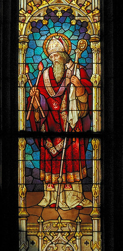 Saint Francis de Sales Oratory, in Saint Louis, Missouri, USA - stained glass window of Saint Blaise, from the Emil Frei Company