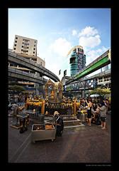 Faith and City (siliconmonkey) Tags: city urban streets canon thailand shrine bangkok wideangle 5d hindu mkii erawanshrine 1635mm worshippers