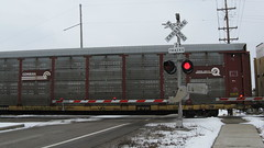Northbound Canadian Pacific freight train crossing Techny Road. Northbrook Illinois. Febuary 2010.