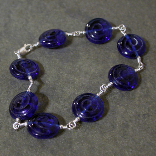 Cobalt Blue Glass Bracelet