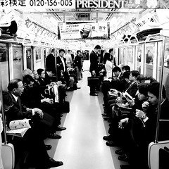 President Line (Lost in Japan, by Miguel Michn) Tags: travel people blackandwhite bw white black blancoynegro japan train tren tokyo blackwhite metro jr bn viajes  salaryman yamanote tokio japn   japon