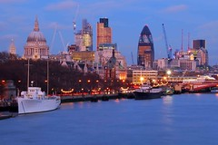 City Skyline from Waterloo Bridge (Mo Baig) Tags: longexposure sunset urban london thames skyline architecture nikon cityscape tripod stpaulscathedral riverthames tower42 allrightsreserved thegherkin waterloobridge 5photosaday nikond40x sigma18200mmoshsm mobaig
