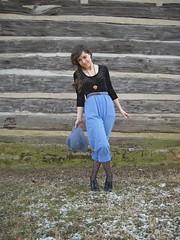 wooden heart (laurenwinterdotco) Tags: blue brown black wardroberemix vintage outfit nashville braids hm forever21 thrifted chambray widebrimmedhat heartnecklace hearttights highwaistedpants laceupheels bloomingleopold velvetbodysuit
