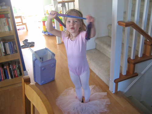 Hannah, playing in her tutu