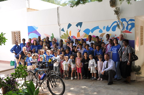 Staff and students from the American International School in Nouakchott