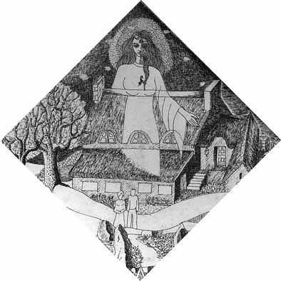 Kerantorec vu par Yves Samson, détail du dessin Pallas-Kerantorec, 1987, dessin au rotring sur Canson