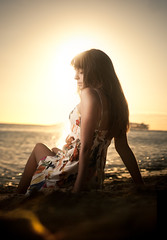 Rachel (Jeremy Snell) Tags: ocean sunset portrait beach water rachel sand warm dress ala moana strobist