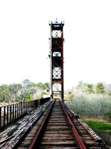 Truss Railroad Lift Bridge over Cedar Bayou, south of Spur 55, Baytown, Texas 0220101201