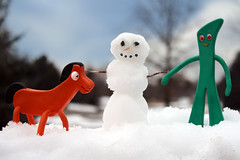 Gumby & Pokey's Snowday (thisisbrianfisher) Tags: snowflake winter snow cold snowman character brian small clay figure fisher pokey gumby brianfisher thisisbrianfisher
