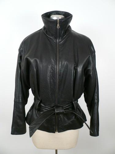 Black leather bomber-style jacket from valentinesvintage@yahoo.comclosed