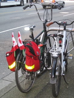 Canadian flags on a bike