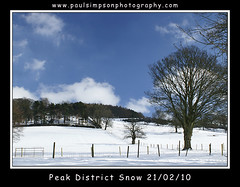 Snow and Sky (Paul Simpson Photography) Tags: uk trees england sky snow tree field clouds fence derbyshire peakdistrict bluesky hathersage thepeakdistrict february2010 derbyshiresnow