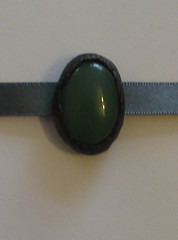 Aventurine & antiqued bronze choker slide
