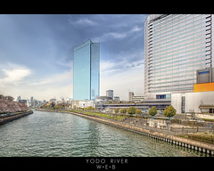 Yodo River (William Bullimore) Tags: city trees windows sky people reflection cars water grass japan skyline clouds stairs fence buildings river japanese cityscape skyscrapers walkway jp cherryblossom sakura osaka paths hdr nihon hdri nihongo honshu osakaprefecture yodoriver setariver ujiriver osakafu canonef1635mmf28liiusm canonrc1wirelessremote manfrotto190xbtripod canoneos5dmarkii manfrotto322rc2heavydutygripballhead