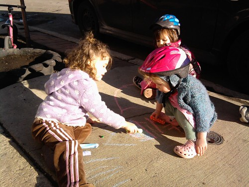 Sunshine, bikes, and sidewalk chalk!!