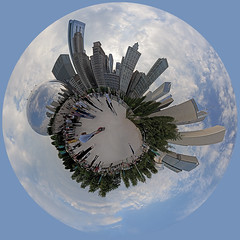 Bean World (anadelmann) Tags: park usa chicago reflection art skyline skyscraper illinois sony f100 milleniumpark il round planet alpha cloudgate thebean windycity v1000 a900 polarpanorama sonyalpha900 anadelmann nxpl