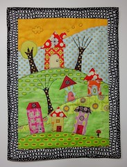 DQS8 # 3 quiltie - 'On top of the Hill' (Sandy in Buenos Aires) Tags: houses miniquilt rawedgeappliqu dqs8