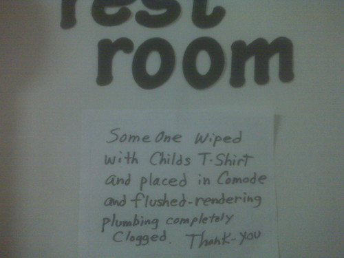 SomeOne wiped with Childs T-Shirt and placed in Comode [sic] and flushed - rendering plumbing completely clogged. Thank-you