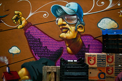 (Georgios Karamanis) Tags: street urban man color art wall fruit graffiti greece thessaloniki boxes karamanis