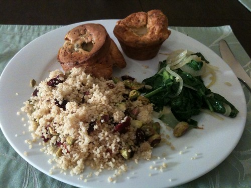 Whole Wheat Couscous, Spinach, Popovers