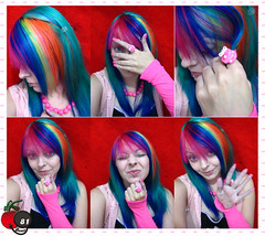Rainbow Cherry Girl Overdose (Cherry Bomb 81) Tags: from uk pink blue iris red orange woman color colour cute green colors girl fashion yellow arcoiris modern hair cherry necklace rainbow eyes women neon purple little sweet expression emo young rosa style olhos scene lips piercing ring jeans nails cupcake monroe estilo dye multicolored warmers dying bomb fofo cor arco minha facial moderno multi bunda cabelo dyed 81 anel lbios azuis blusa colorido casaco pintado expresso marimoon manguinhas alfaparf luvinhas struckbyrainbow