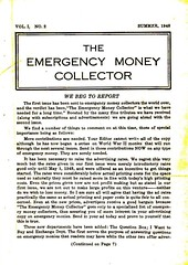 Emergency Money Collector Summer 1948