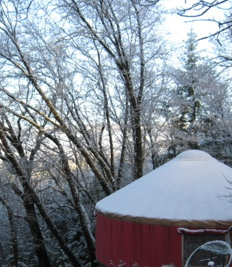 yurt winter morning
