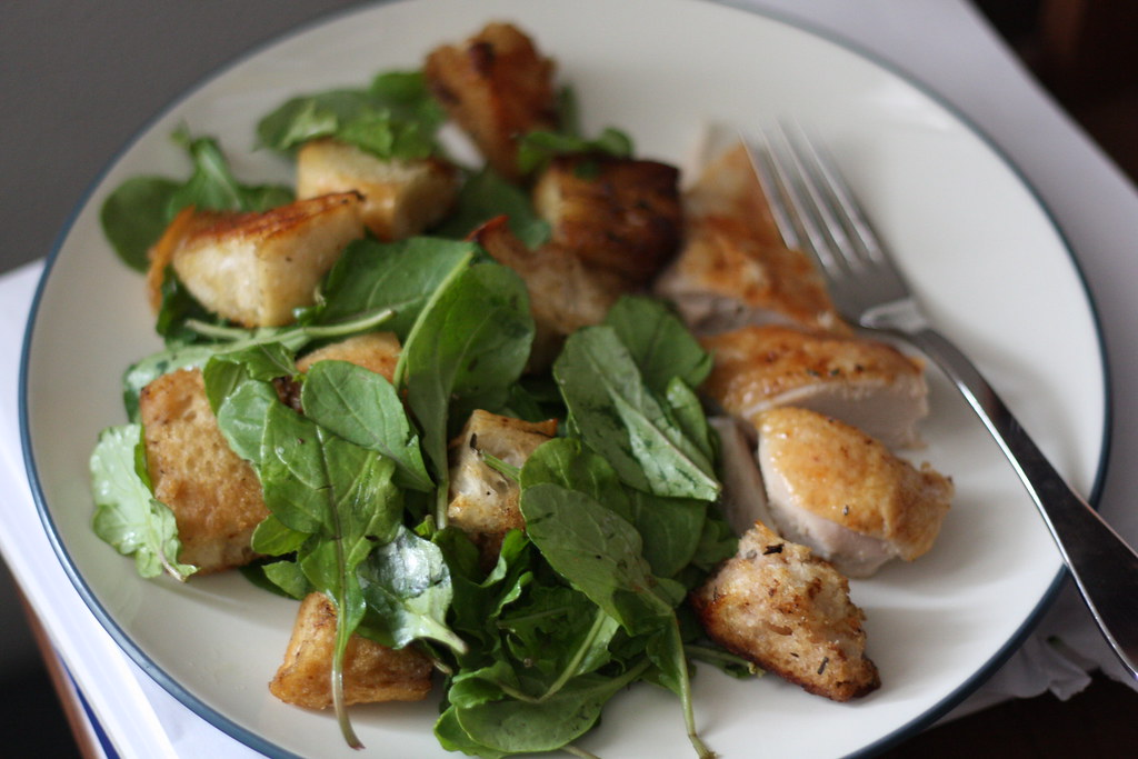 Chicken Croutons & Wilted Greens