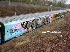 dels & oker taking out goks2 (London Art) Tags: london train graffiti dpm oker dels