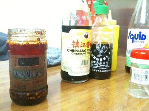 Condiment Selection at Lam Zhou Handmade Noodle & Dumpling