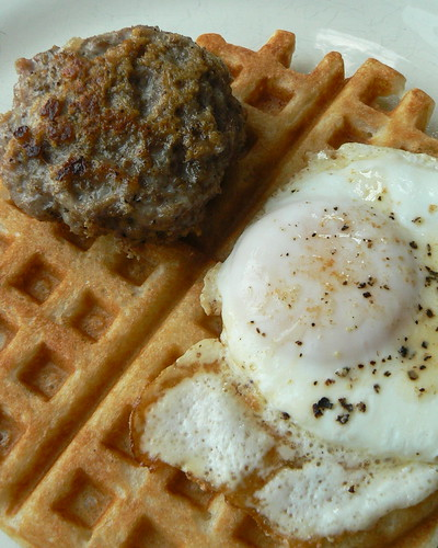 Egg and Sausage on Waffle