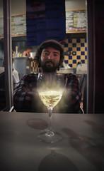Elixir (Mr Rictus) Tags: light portrait night beard table shine wine hobo