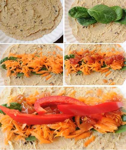 Fresh Veggies in a Blanket --how to make a veggie wrap