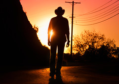 He Is On The Road, Again (TJ Scott) Tags: cowboy cinematic sillhouette mulhollanddrive godhead countrysinger tjscott jasoncharlesmiller