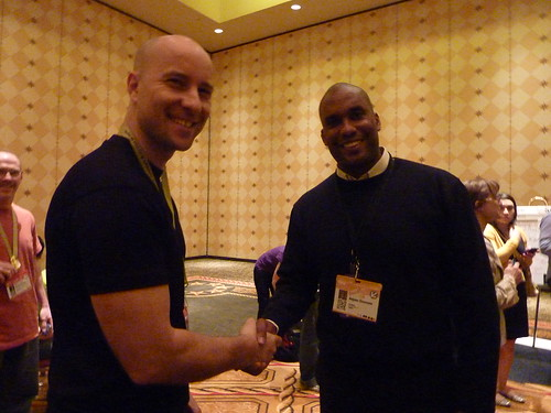 Anjuan shaking hands with Core Conversation attendee at SXSW