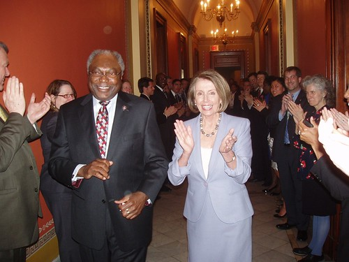 Speaker Nancy Pelosi and Whip Clyburn return to the Speaker's office