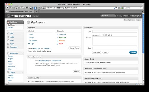 WordPress 3.0 管理画面
