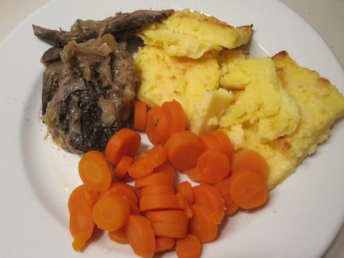 beef, gnocchi alla romana, carrots
