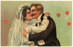 Just married  postcard (the ghost of me) Tags: love vintage groom bride kissing married postcard reprint
