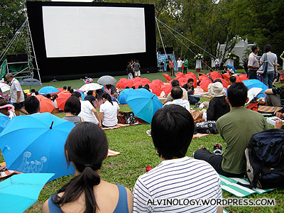 Outdoor movie screening for later in the evening