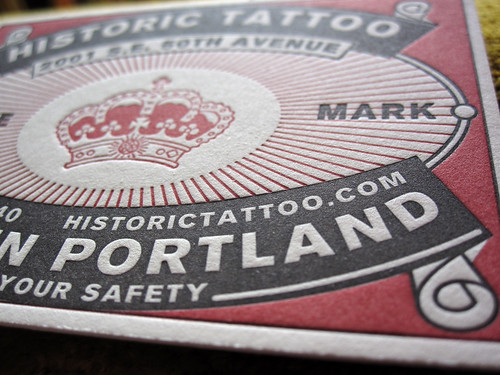 Franz Wright poem print · Historic Tattoo business card detail