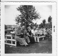 MAMIE, FRANK, LENORE, AND JIM...1958 (roberthuffstutter) Tags: family sailors usn unclejim unclefrank familyreunions grundycountymo auntlenore auntmamie timeflys huffstutter trentonmo fiftyplusyearsago huffstutterreunions artandorphotosbyhuffstutter