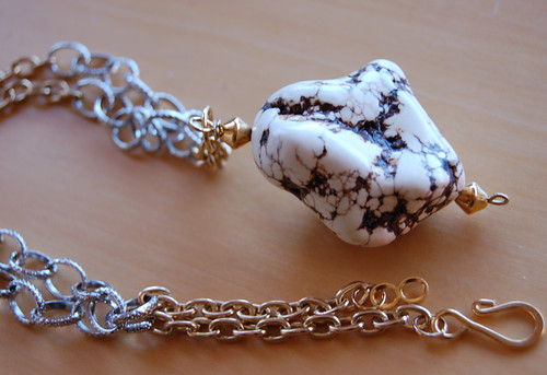 White Turquoise Net Pendant Necklace4