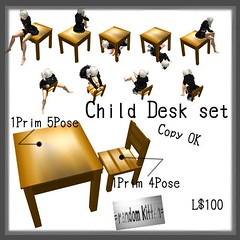 =random kitten=Child Desk set