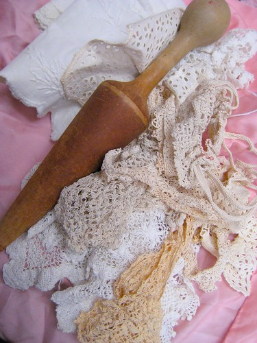 wooden tool and old hand made lace
