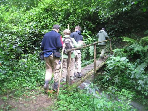 Crossing a little wooden bridge.