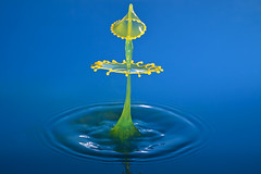 Delicate Figurine (*Corrie*) Tags: blue macro green water yellow milk drops waterdrop droplet waterdrops liquid highspeed collision watersplash waterdroplet watersculpture milkdrop liquidart thetimemachine canonef100mmf28macrousm liquidmacro milksplash canoneos50d macroart waterdropphotography speedlite580exll speedlite430exll doubledrops watercollision corriewhite liquiddropart
