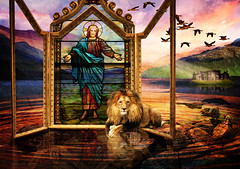 Sonrise (ArteZoe) Tags: castle composite photoshop sunrise easter triptych christ glory jesus scottish ripples loch spiritual breakthrough miracles heavenly resurrection lionofjudah inspiks tiffanywindow theunforgettablepictures artezoe thesuperbmasterpiece awardtree heavenlycaptures
