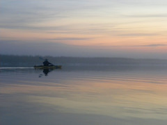 2 David Paddles Into the Fog (Glass Bead Game Master) Tags: sunrise easter kayak paddle charles kayaking davidt